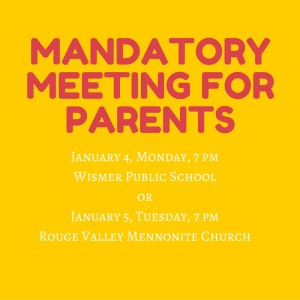 Mandatory Meeting for Parents